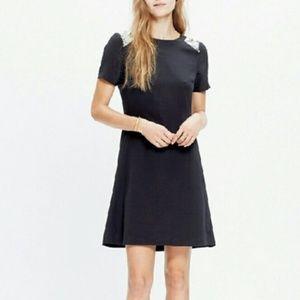 Madewell Silk Sequin Yoke Dress In True Black 2